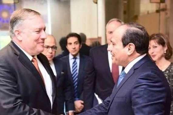 """السيسي لـ""""بومبيو"""": لا سبيل لتسوية الأزمة الليبية إلا من خلال حل شامل"""