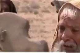 مشهد تمثيلي للإمام علي يسجد علي الصليب