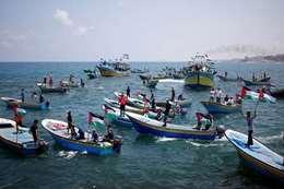 مسيرة بحرية فى غزة