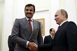 الرئيس الروسي فلاديمير بوتين وأمير قطر الشيخ تميم بن حمد آل ثاني (أرشيفية)