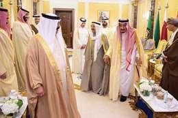 العاهل السعودي ومحمد بن سلمان والشيخ صباح