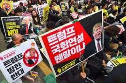 احتجاجات فى كوريا الجنوبية  ضد زيارة ترامب