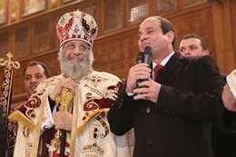 الرئيس السيسي خلال حضوره قداس عيد الميلاد