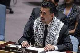 مندوب بوليفيا بالشال الفلسطيني