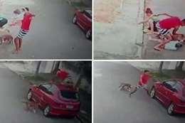 شاب ينقذ رقبة طفل من بين أنياب كلب
