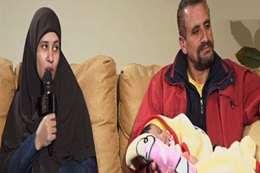 زبيدة وزوجها أثناء حوارهما مع عمرو أديب
