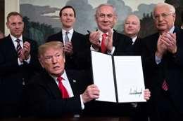 توقيع قرار «ترامب» بضم الجولان لإسرائيل