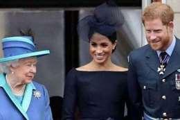 الملكة إليزابيث و الأمير هاري وماركل