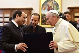"""""""السيسي"""" يتبادل تذكارات العائلة المقدسة مع بابا الفاتيكان"""