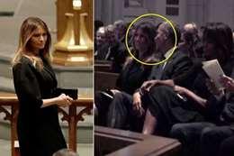 ابتسامة ميلانيا ترامب لـ«أوباما» في غياب زوجها