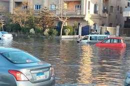 جانب من غرق شوارع القاهرة الجديدة