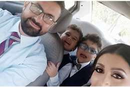 الأسرة الضحية مع الزوج القاتل