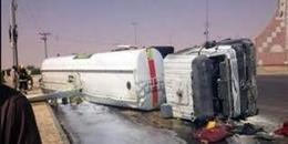 """توقف المرور بطريق """"طنطا – إسكندرية"""" لانقلاب سيارة بترول"""