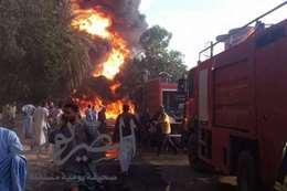 حريق بمحطة وقود إدفو