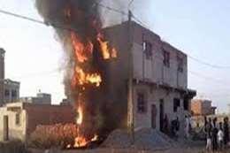 جريق منزل بالمنيا