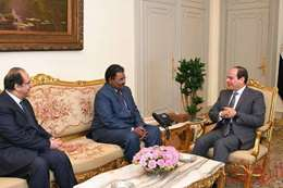 السيسي خلال لقاءه برئيس جهاز الأمن والمخابرات السوداني