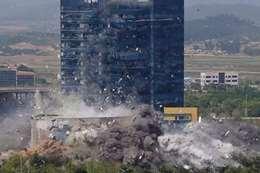 المبنى بعد تفجيره