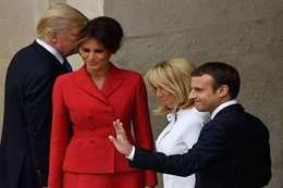 ترامب مع الرئيس الفرنسى وزوجته
