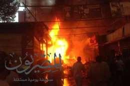 اندلاع حريق ضخم بسوق الخضار بإدفو