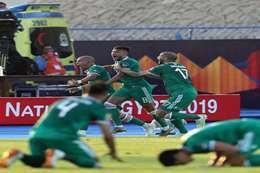 فرحة لاعبي منتخب الجزائر