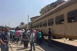 """خروج قطار """"طنطا – المنصور """" عن القضبان بمحطة سمنود"""