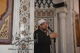 صورة وزير الأوقاف أثناء الخطبة