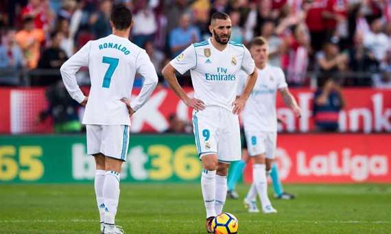 شاهد.. حسرة رونالدو وقبلة راموس من أبرز لقطات فوز جيرونا علي ريال مدريد