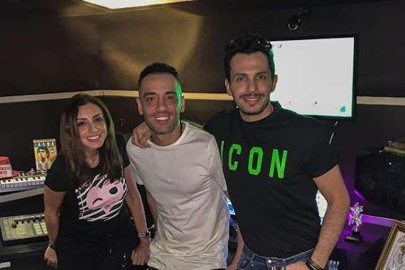 انغام  وزوجها أحمد ابراهيم ورامي جمال