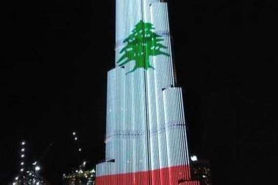 برج خليفة مضئ بعلم لبنان