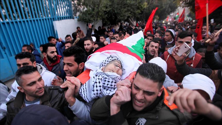 تشييع جثمان فلسطيني قتل برصاص جيش الاحتلال بالضفة