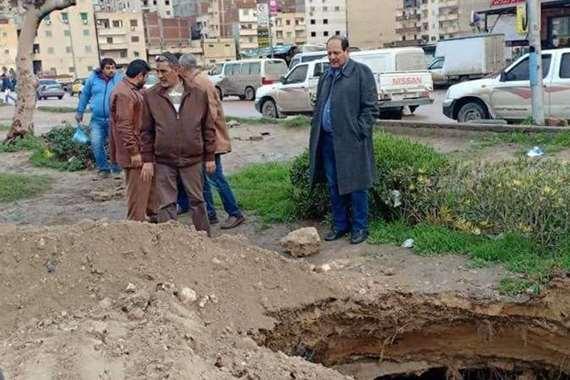 هبوط أرضي في شارع مصطفى كامل بالإسكندرية