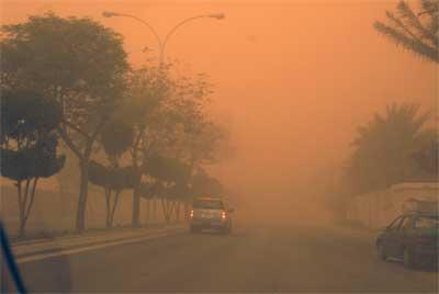 عواصف ترابية تضرب محافظة الوادي الجديد