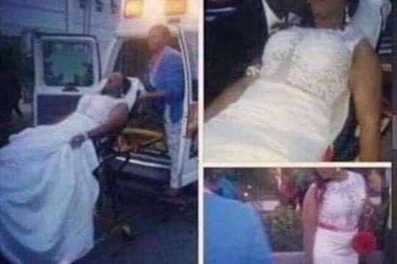 عروس تصل لقاعة الزفاف بسيارة إسعاف
