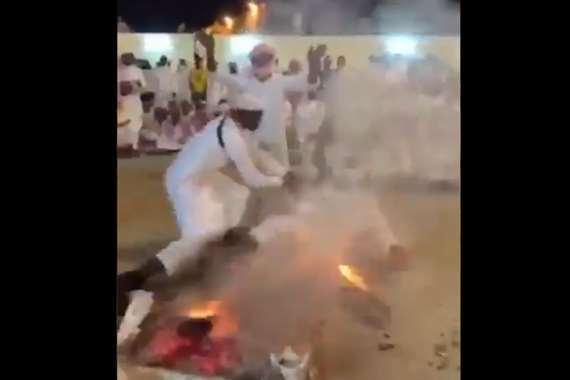 يلقي بنفسه في النار بحفل زفاف سعودي