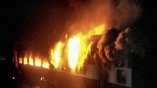 اندلاع حريق  في  قطار القاهرة – أسوان بمحطة طهطا