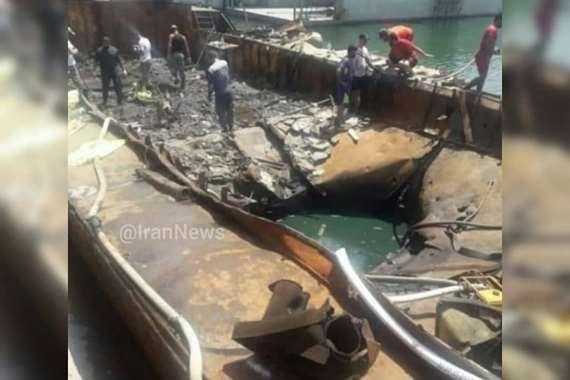تكشف حجم الدمار.. الصورة الأولى للبارجة الإيرانية