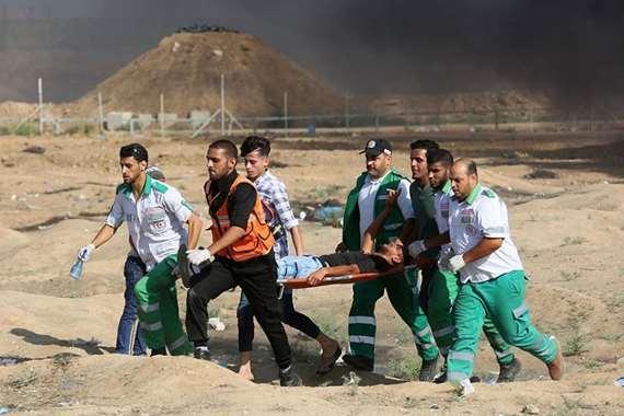 إصابة الفلسطينيين برصاص الاحتلال الإسرائيلي في غزة