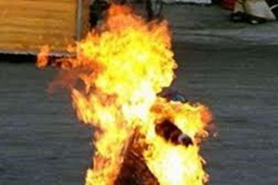 حريق ربة منزل