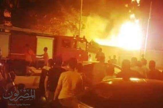 السيطرة على حريق  هائل في معهد المعلمين الازهرى بطنطا