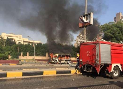 شاهد.. لقطات صعبة في حادث انفجار سيارة الدقي