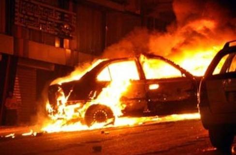 إضرام النار في سيارة ضابط شرطة بأسيوط